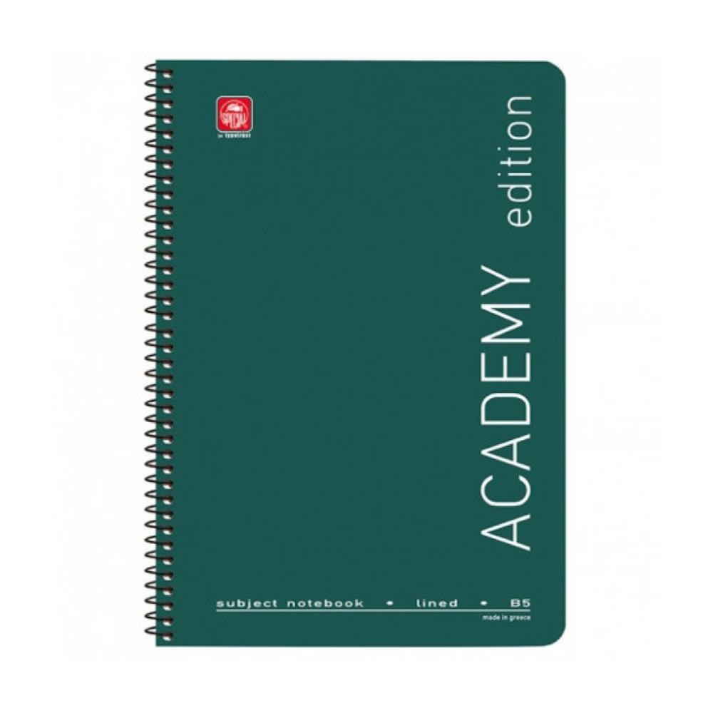Τετράδιο σπιράλ 17x25 Academy 5 θεμάτων πράσινο