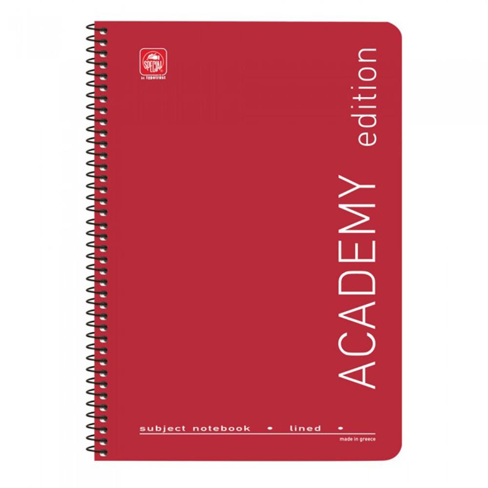 Τετράδιο σπιράλ Α4 Academy 4 θεμάτων κόκκινο