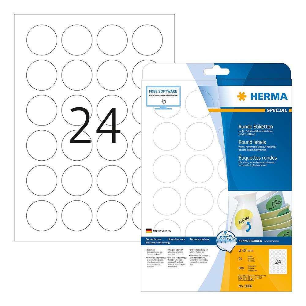 Ετικέτες Herma στρογγυλές 40mm λευκές 5066