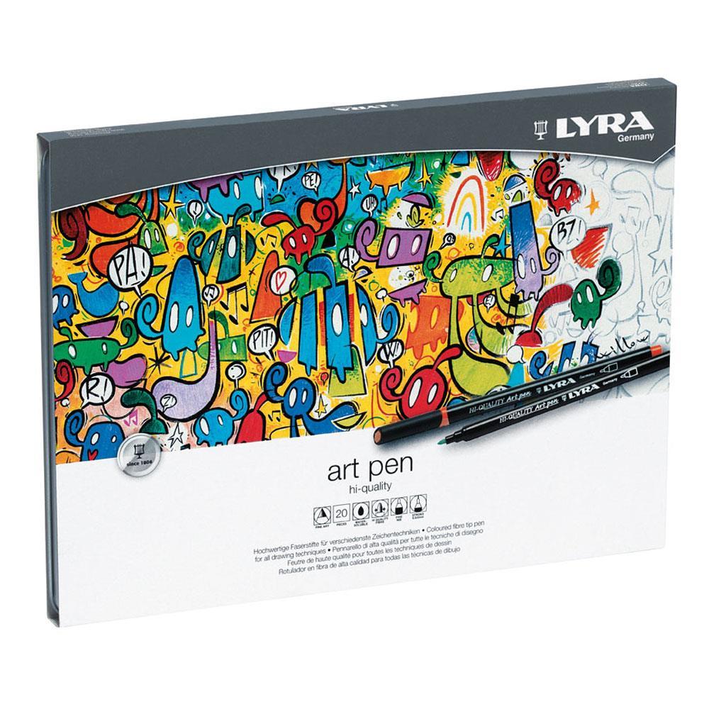 Μαρκαδόροι Lyra art pen σετ 20 τεμ. μεταλλική κασετίνα 1-5 mm