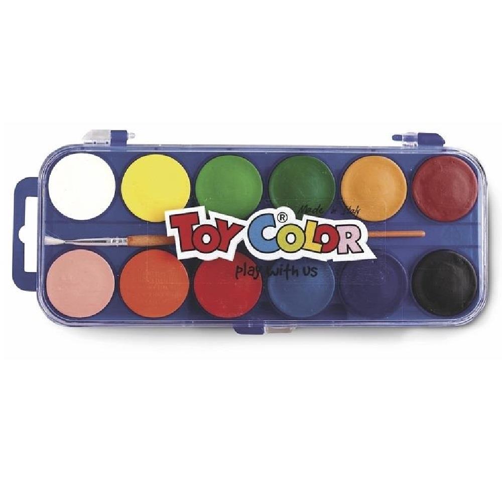Νερομπογιές Toy Color με πινέλο 12 τεμ.