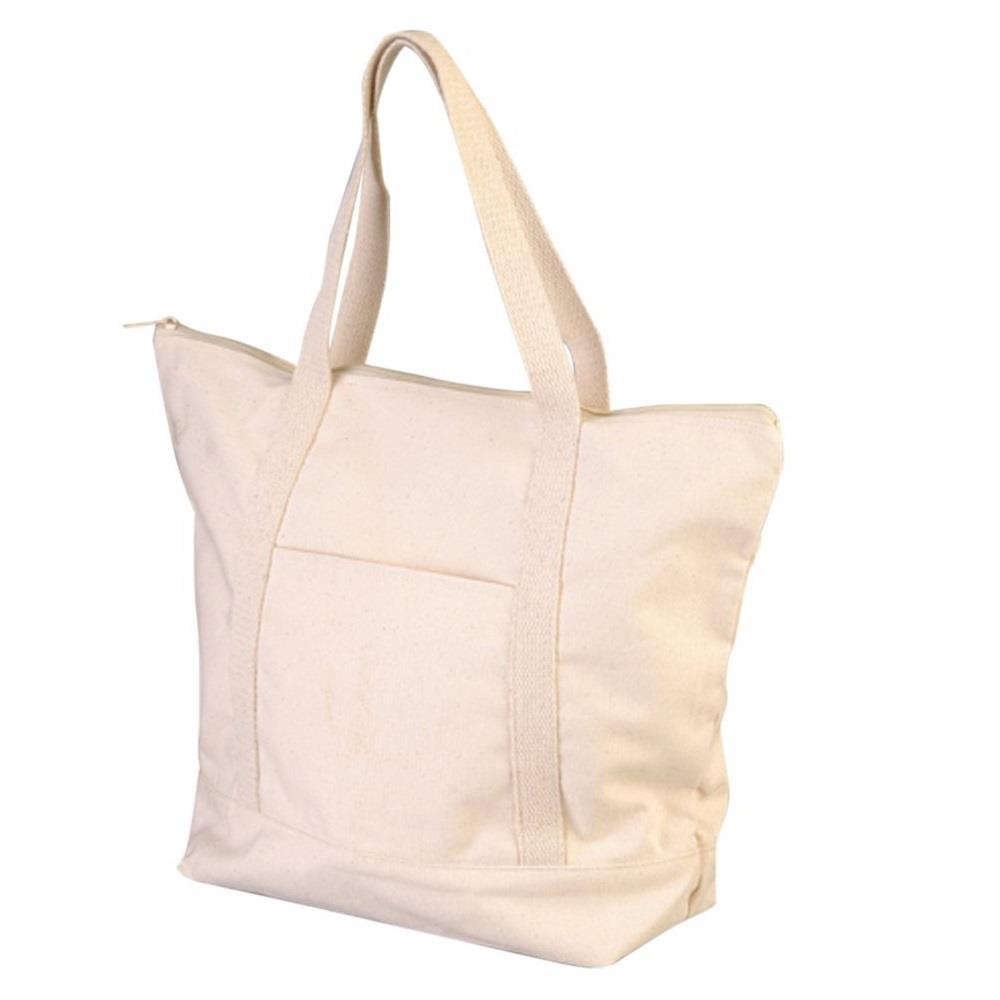 Τσάντα βαμβακερή με τσέπη και φερμουάρ 43x34 cm