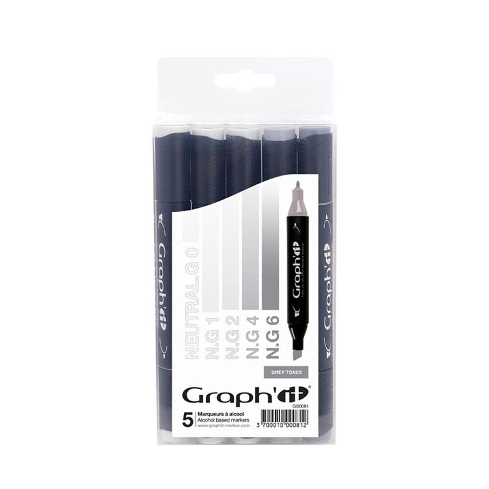 Μαρκαδόροι Graph 5 τεμ Grey tones