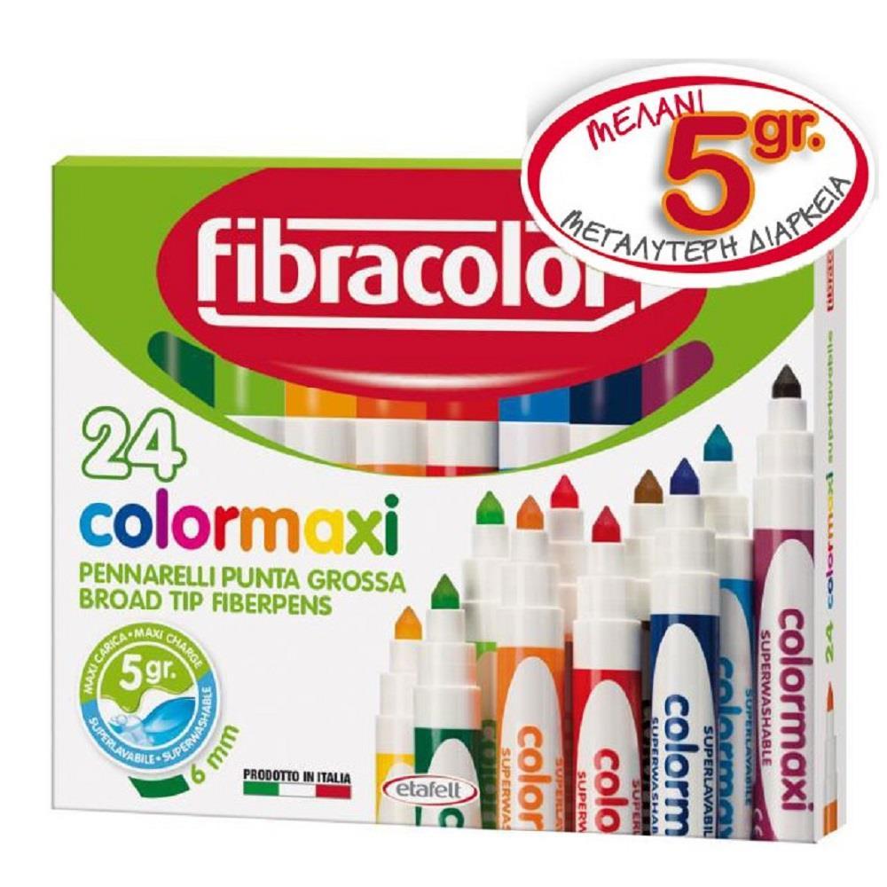 Μαρκαδόροι Fibracolor χοντροί 24 τεμ. colormaxi washable