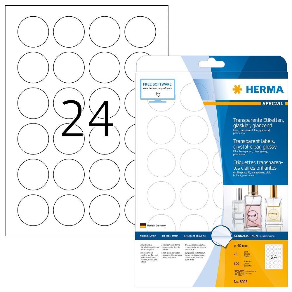 Ετικέτες Herma στρογγυλές 40mm διάφανες 8023