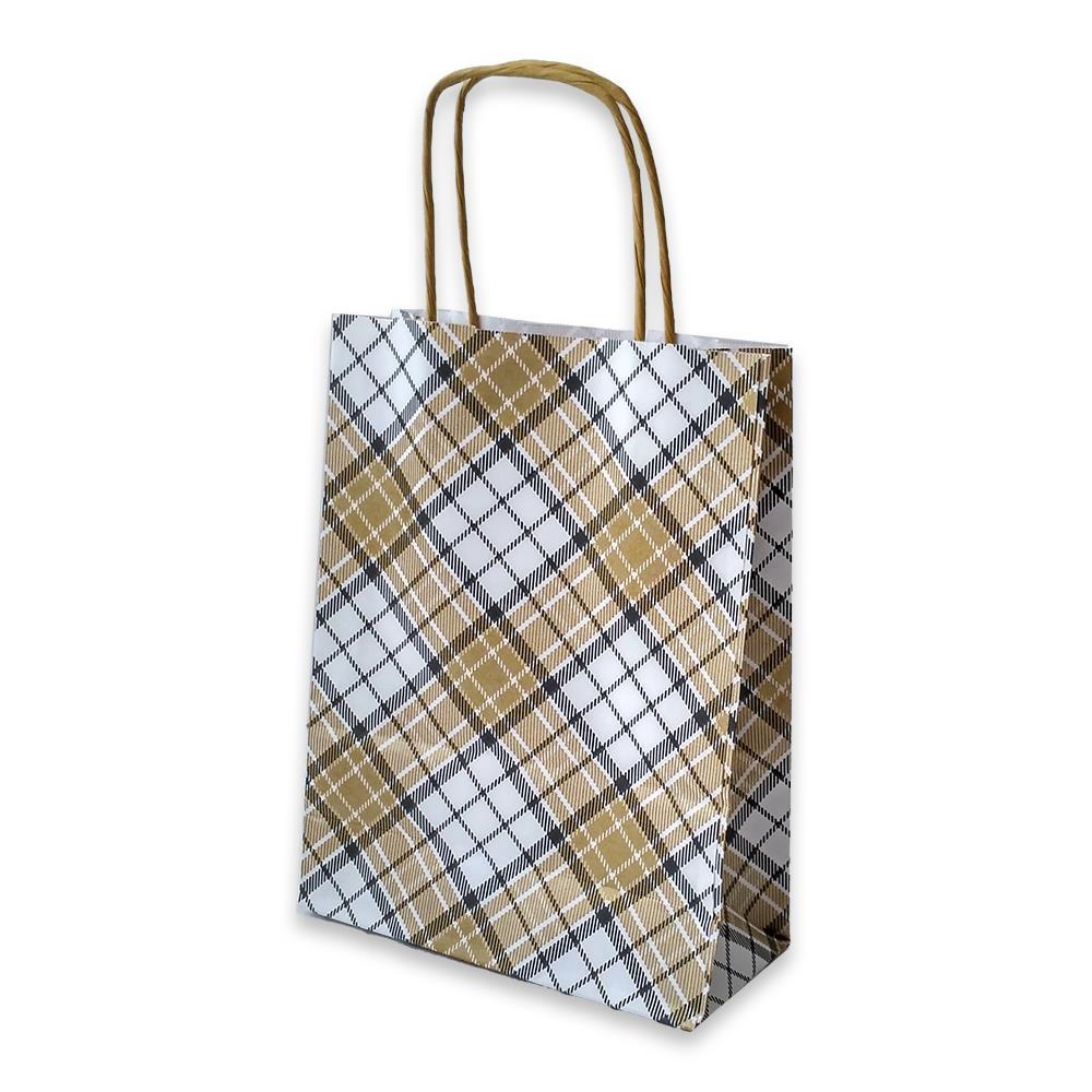 Τσάντα χάρτινη Bolis καρό 16x7x21,5 cm μπεζ