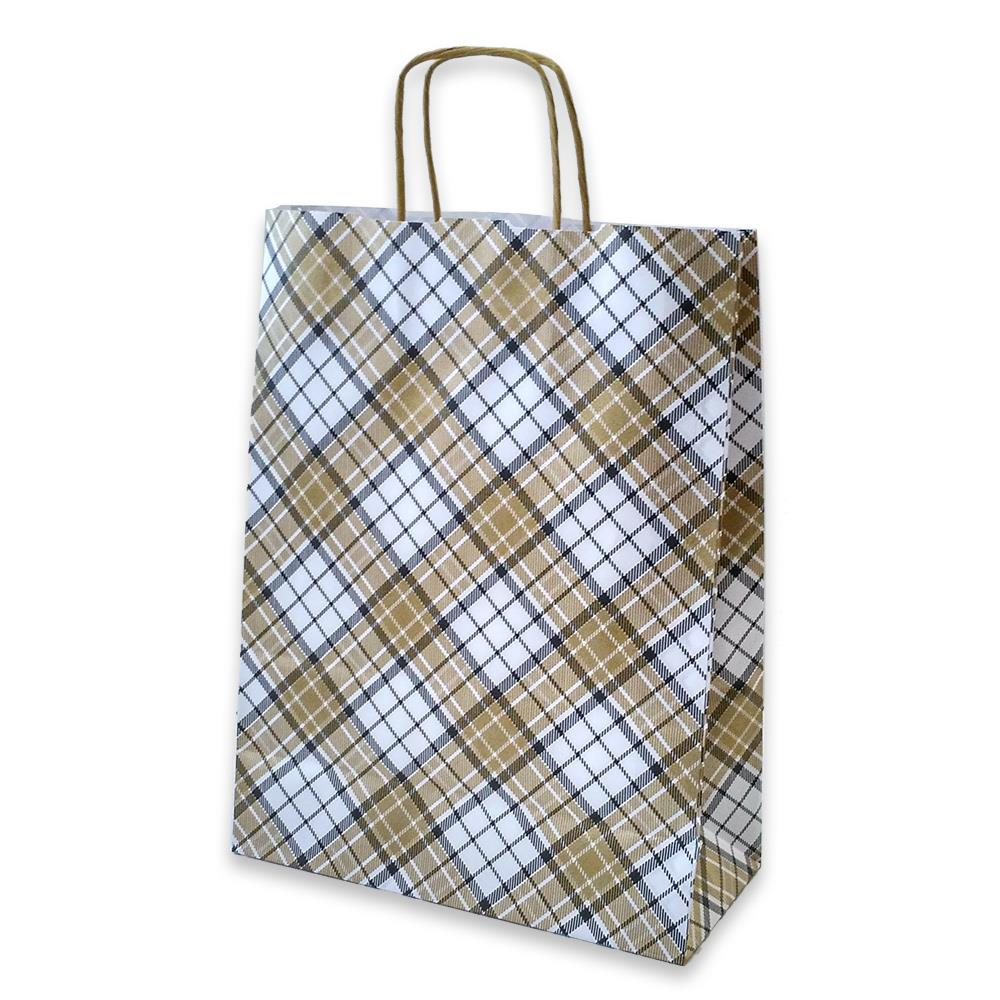 Τσάντα χάρτινη Bolis καρό 24x10x31 cm μπεζ