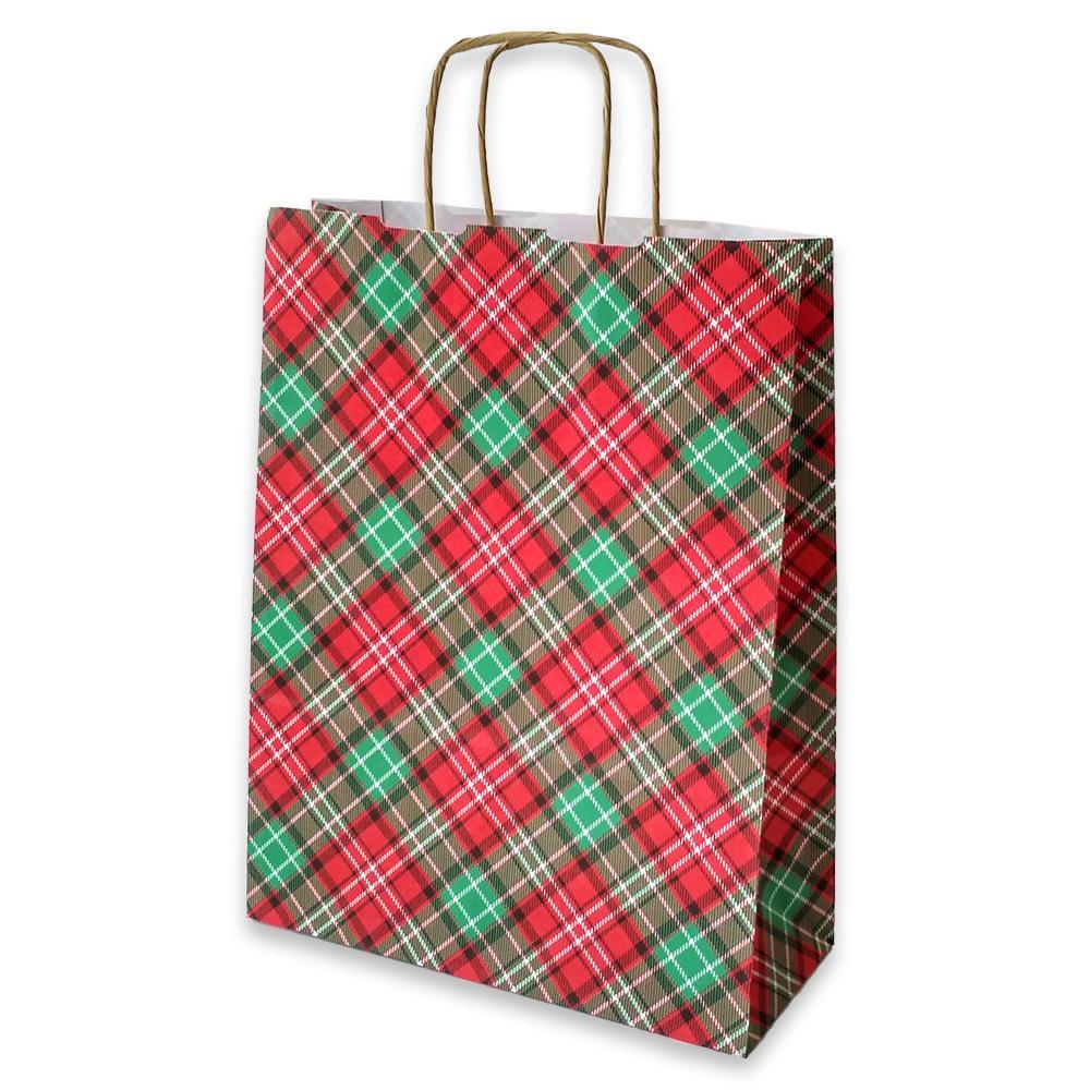 Τσάντα χάρτινη Bolis καρό 24x10x31 cm κόκκινη