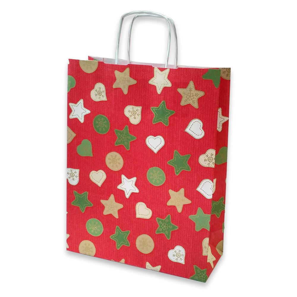 Τσάντα χάρτινη Bolis αστέρια 24x10x31 cm κόκκινη