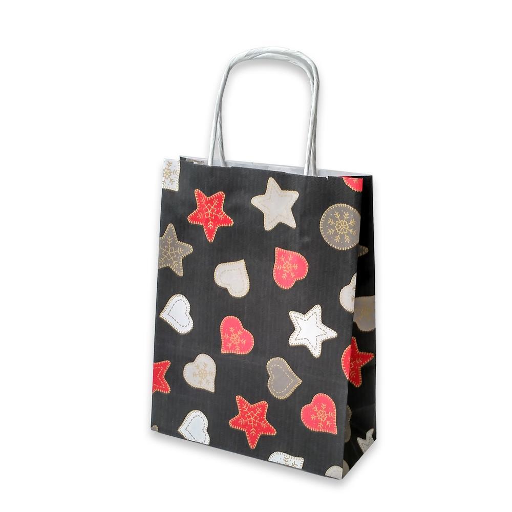 Τσάντα χάρτινη Bolis αστέρια 16x7x21,5 cm μαύρη