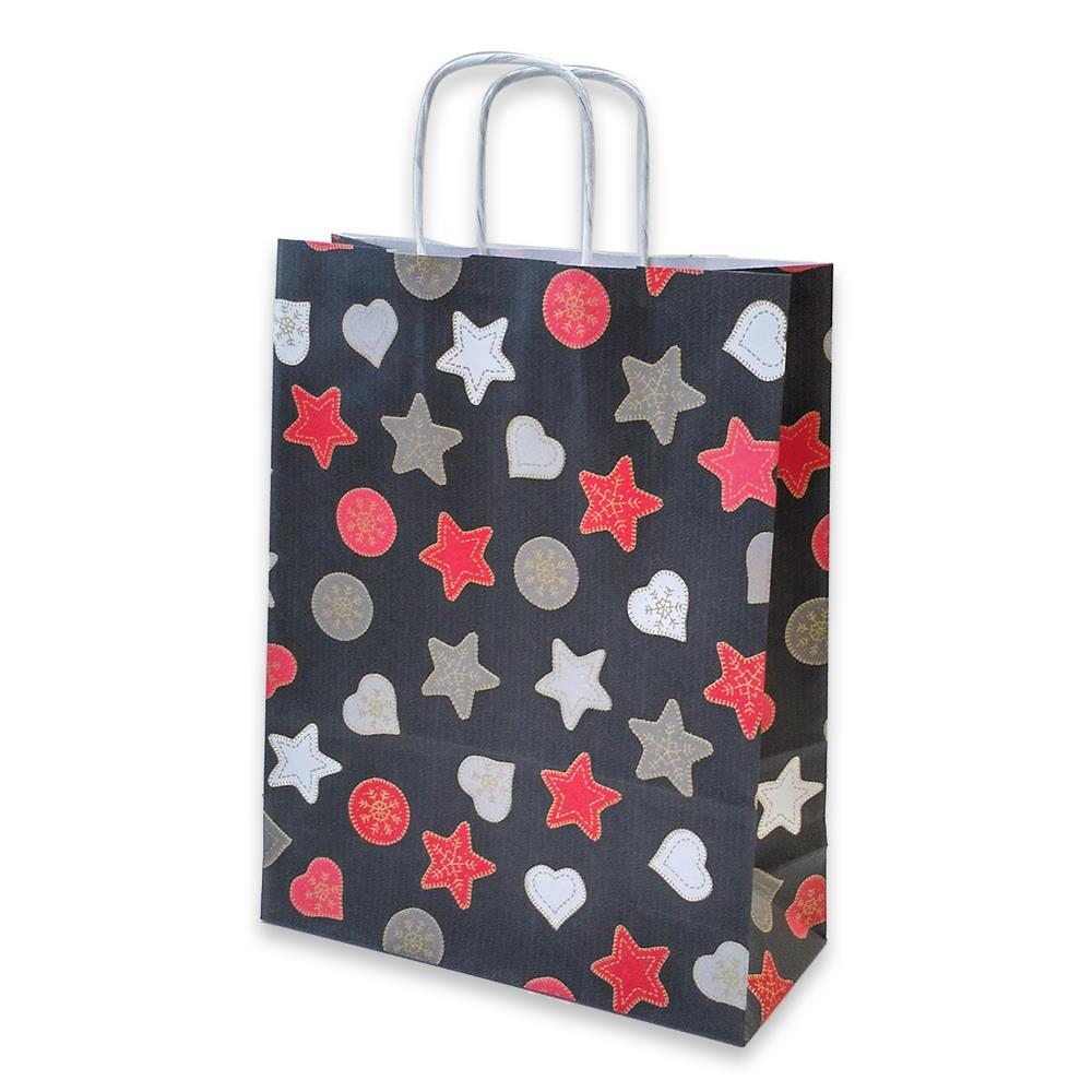 Τσάντα χάρτινη Bolis αστέρια 24x10x31 cm μαύρη