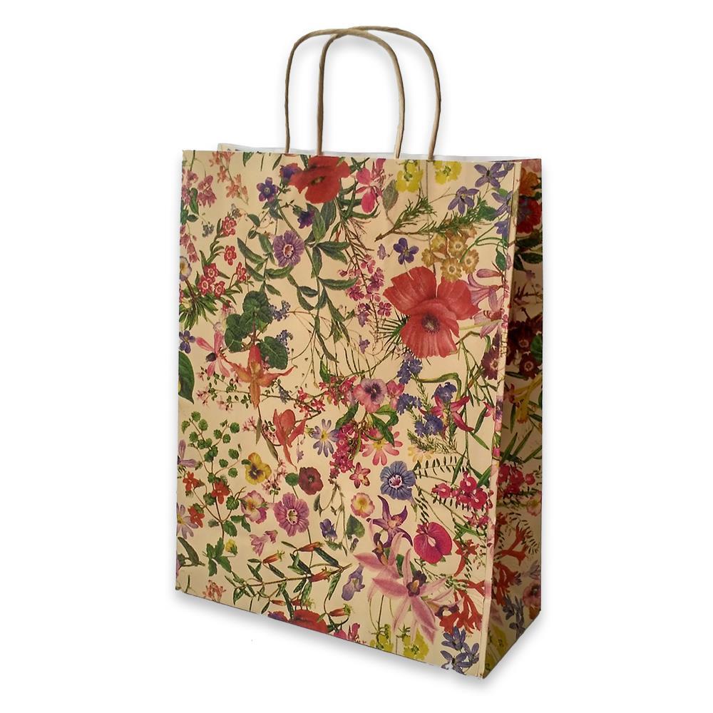 Τσάντα χάρτινη Bolis κραφτ 24x10x31 cm λουλούδια