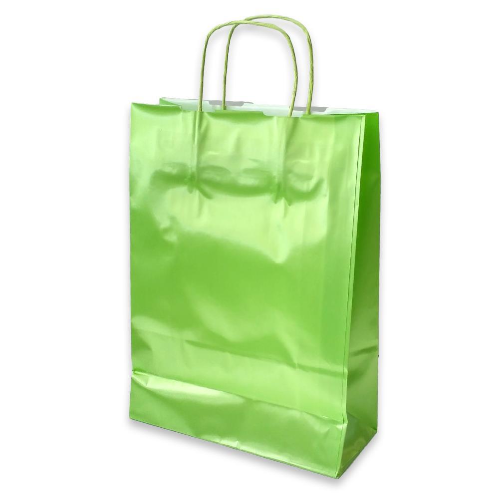 Τσάντα χάρτινη Bolis περλέ 27x11x36 cm λαχανί