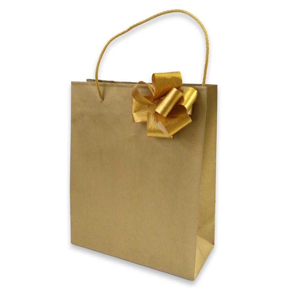 Τσάντα χάρτινη Bolis με κορδέλα 22x10x27 cm χρυσή