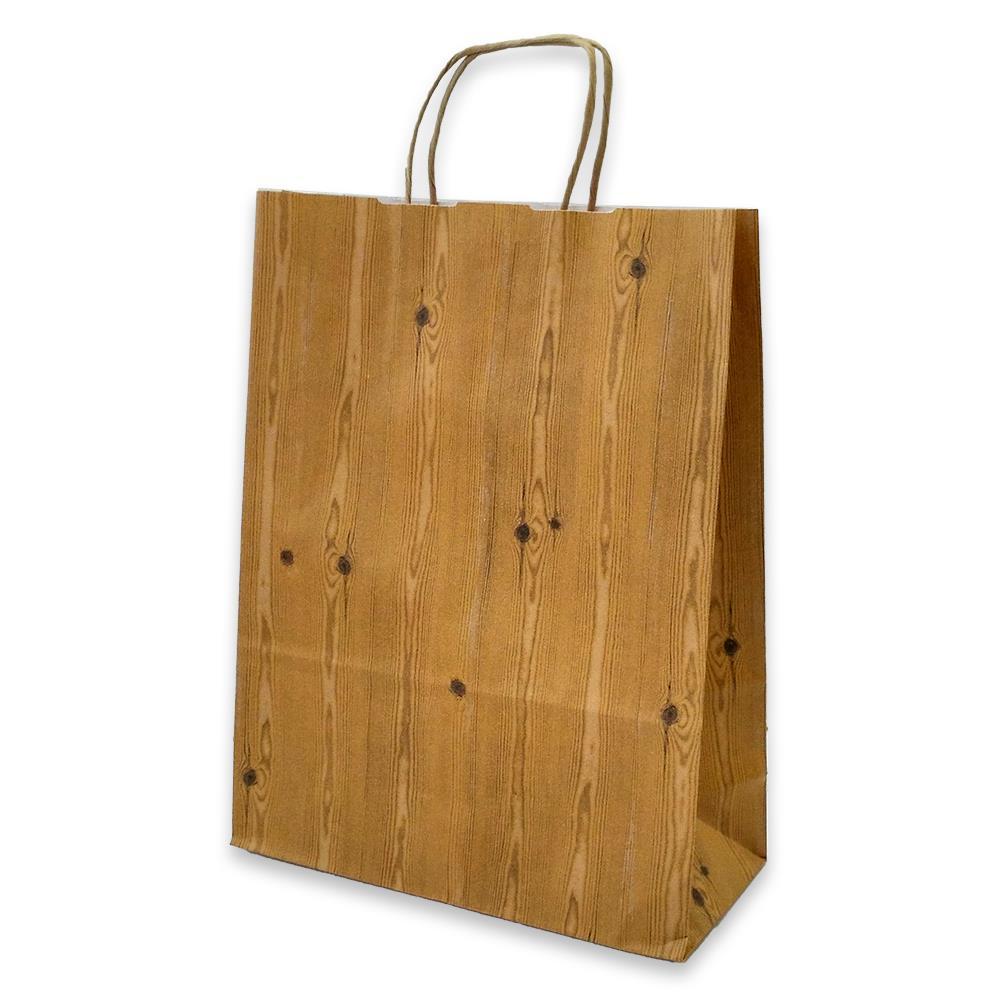Τσάντα χάρτινη Bolis κραφτ 24x10x31 cm ξύλο
