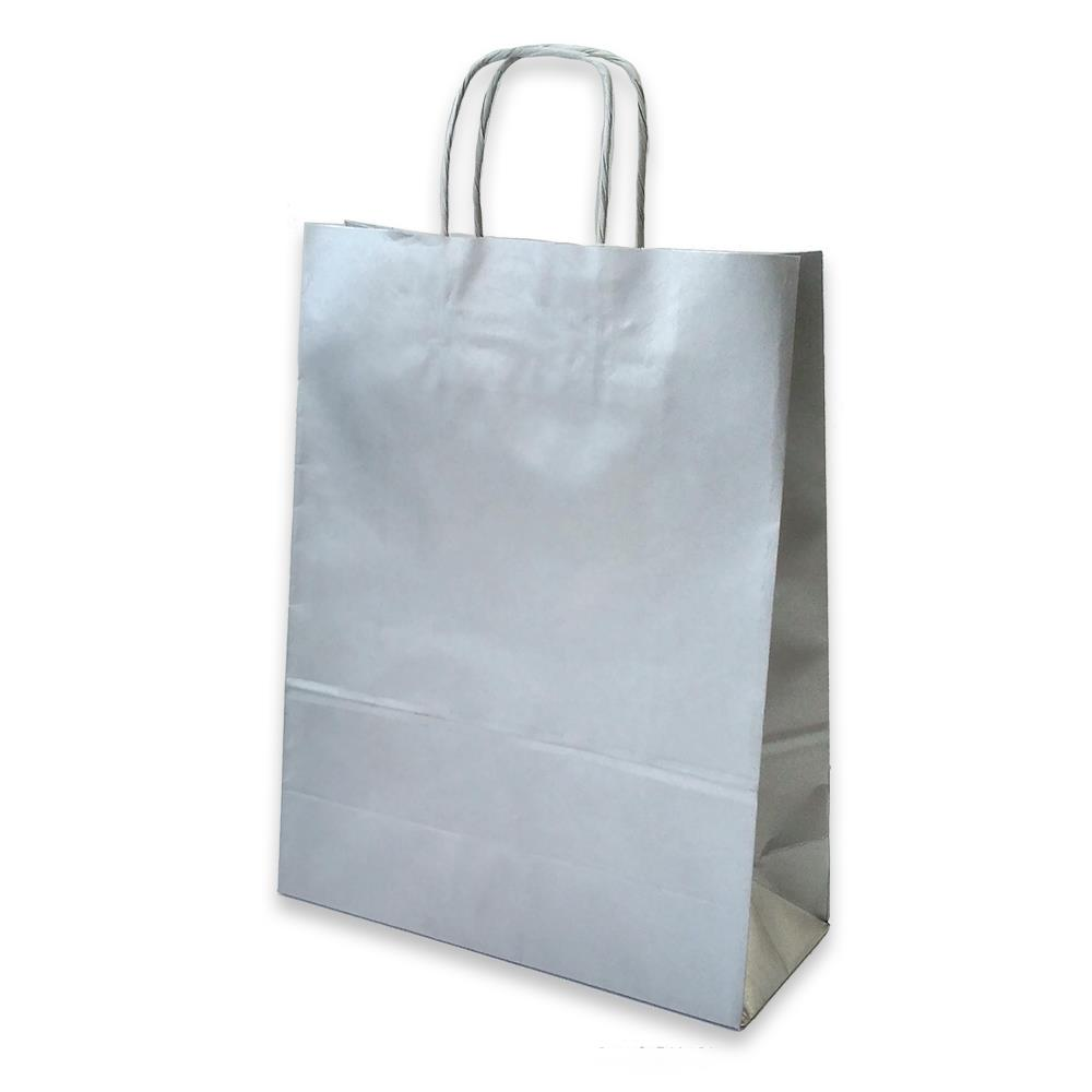 Τσάντα χάρτινη Bolis 24x10x31 cm ασημί