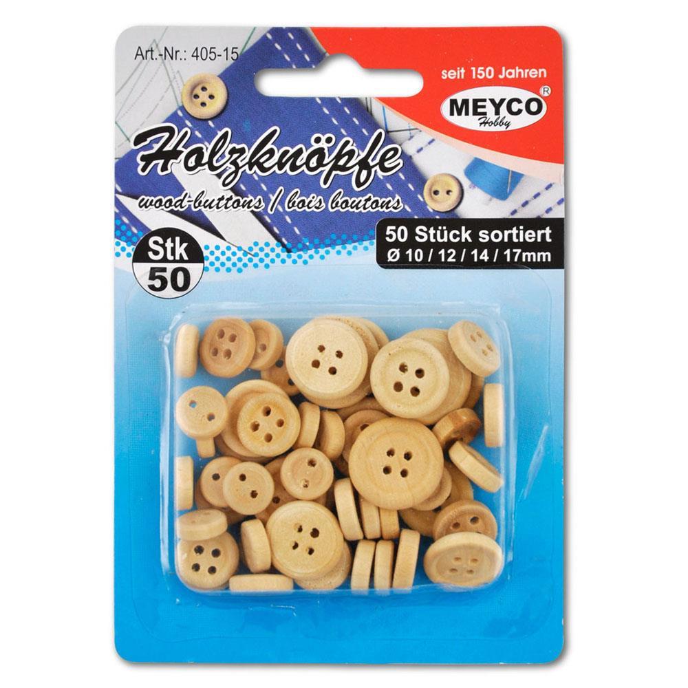 Κουμπιά ξύλινα Meyco φυσικό χρώμα 50 τεμ 405-15