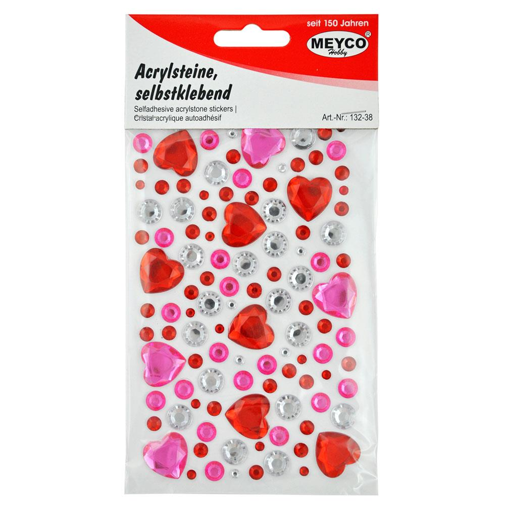 Αυτοκόλλητα Meyco καρδιές με πετράδια 132-38
