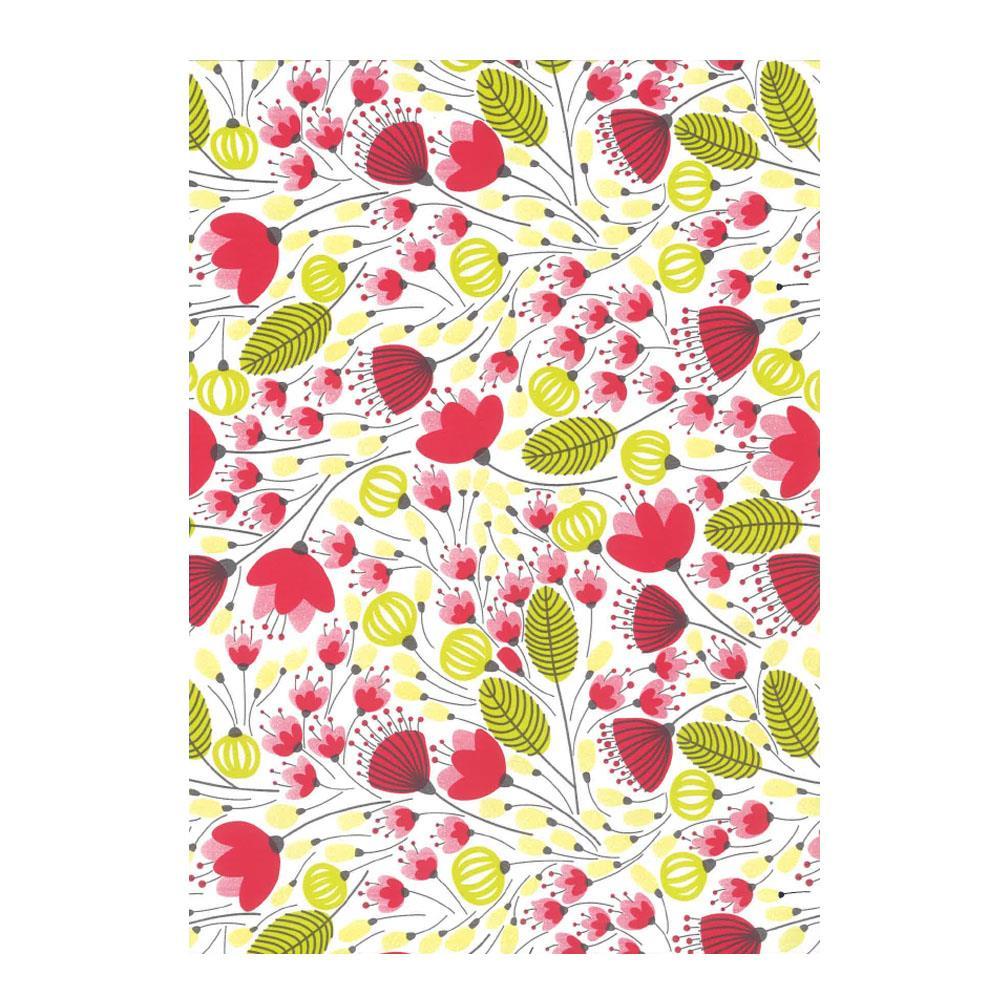 Χαρτί δώρου bolis 70 x100 cm Flowers redgreen