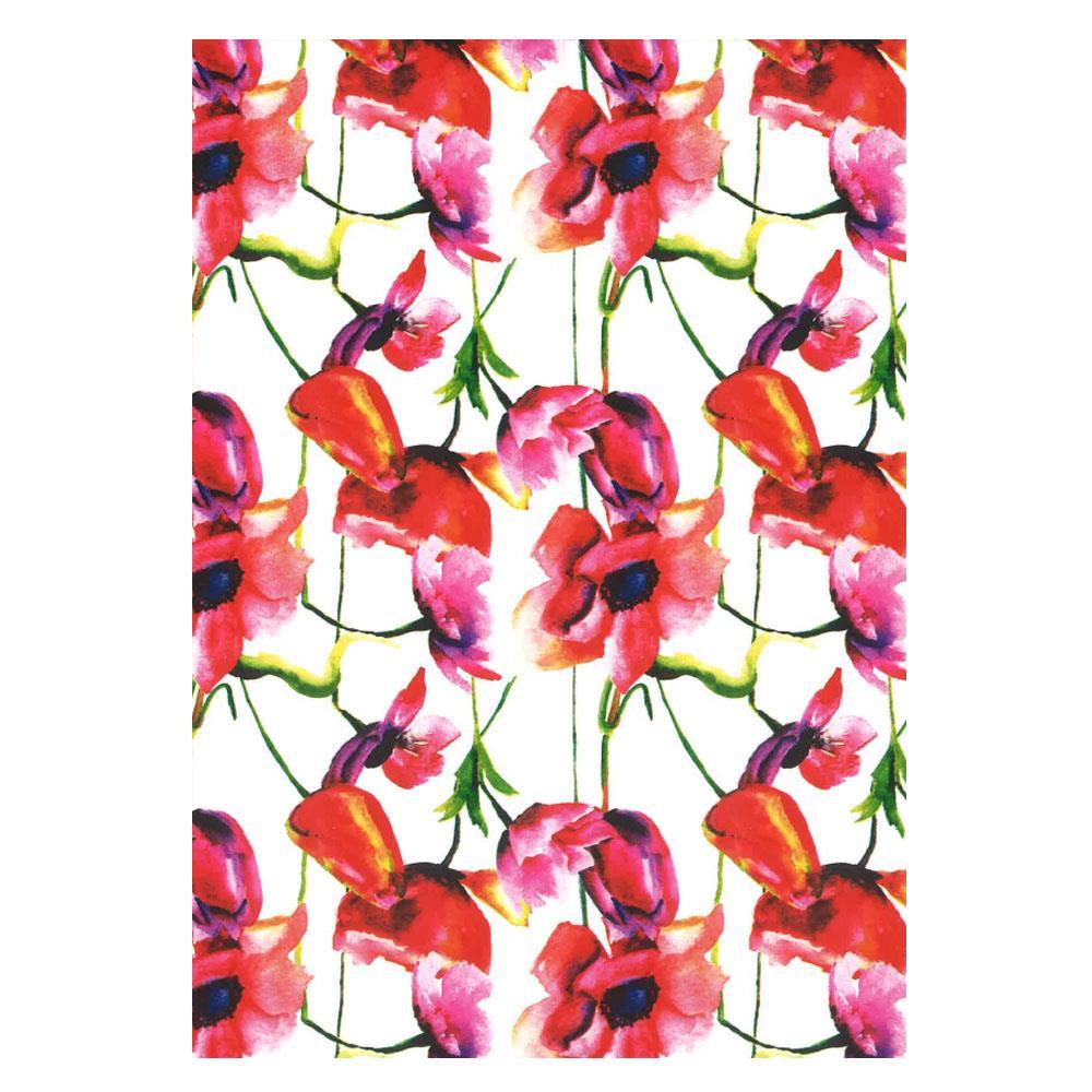 Χαρτί δώρου bolis 70 x100 cm Flowers redwhite