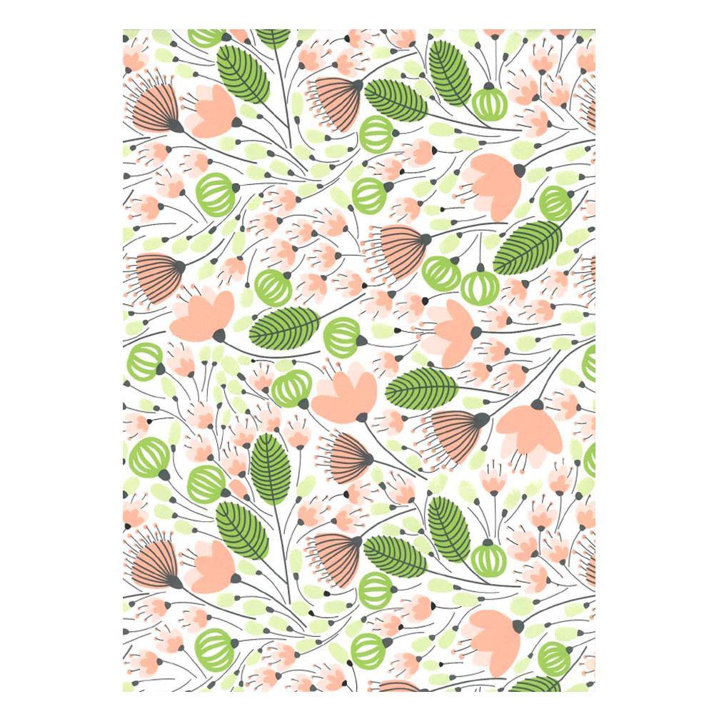 Χαρτί δώρου bolis 70 x100 cm Flowers pinkgreen
