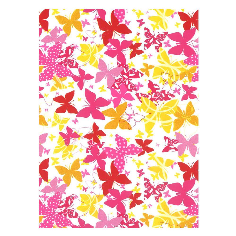 Χαρτί δώρου bolis 70 x100 cm Flowers redbutterflies