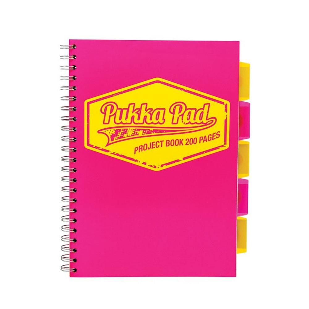 Τετράδιο σπιράλ Α4 Pukka 5 θεμάτων neon ροζ
