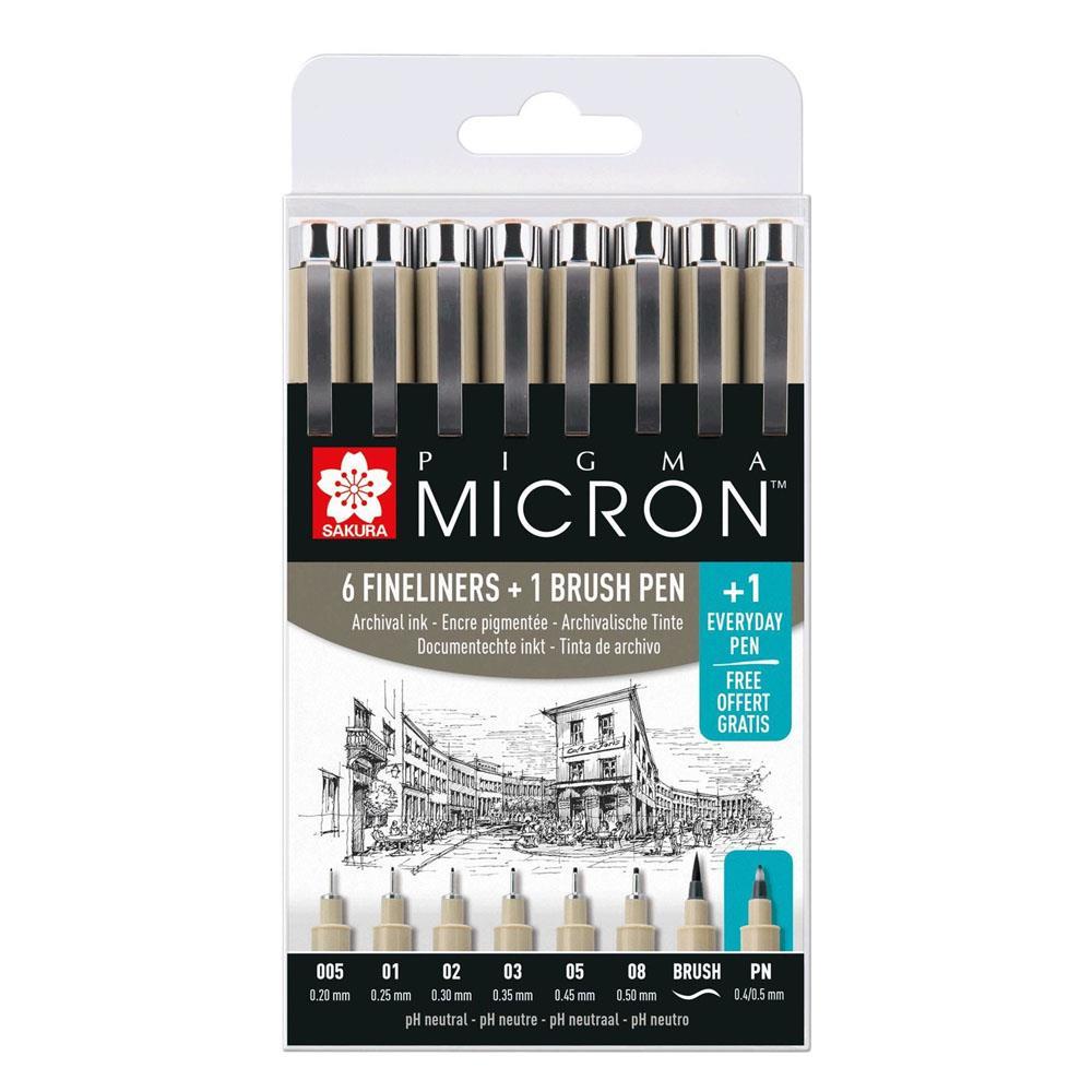 Μαρκαδοράκια Sakura Pigma Micron σετ 7+1 δώρο μαύρα