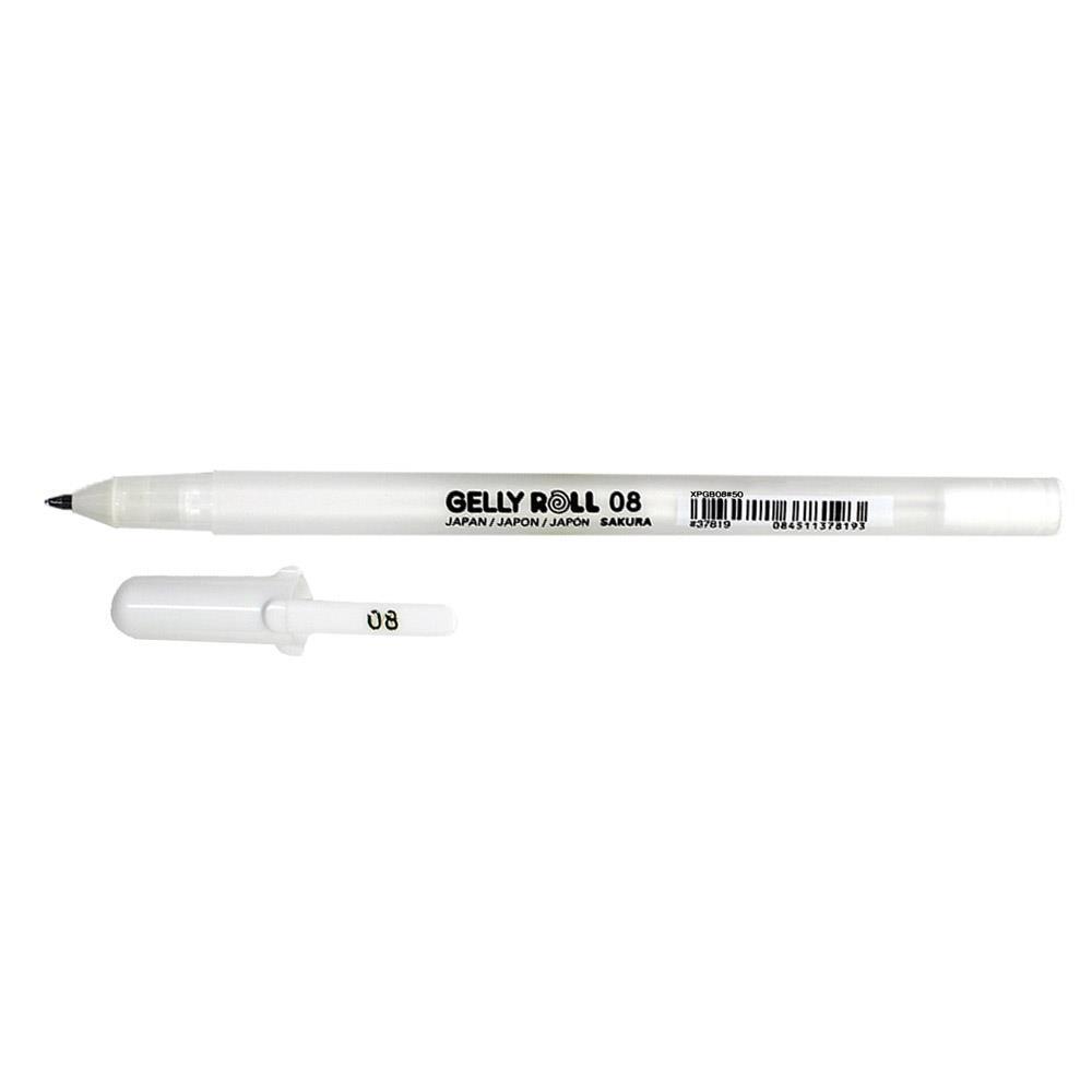 Στυλό Sakura Gelly Roll 08 λευκό 0,4 mm medium