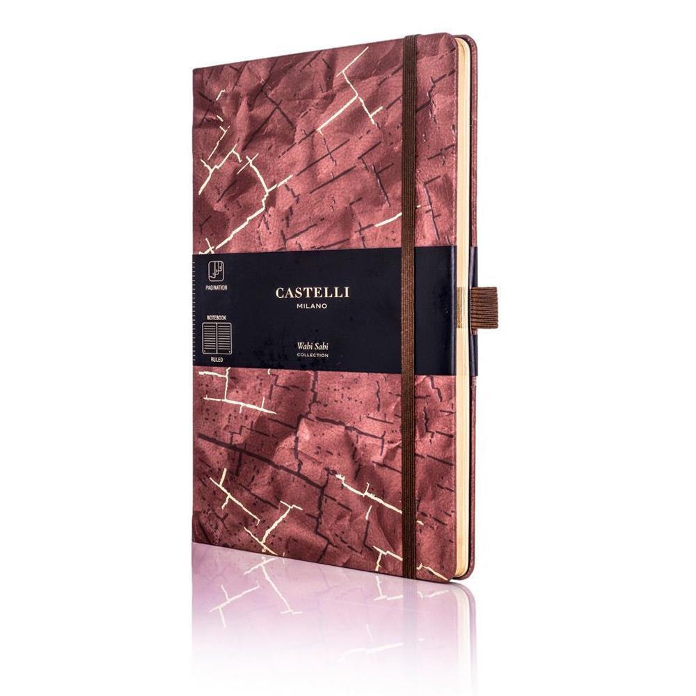 Σημειωματάριο 13x21 cm Castelli ριγέ Wabi sabi bark