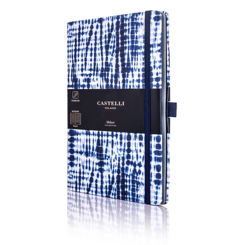 Σημειωματάριο 13x21 cm Castelli ριγέ Shibori jute