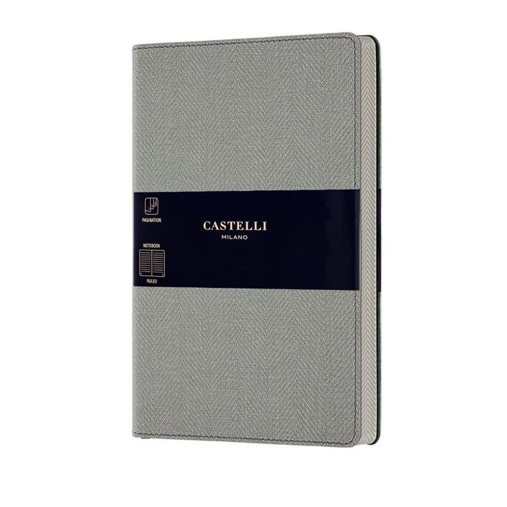 Σημειωματάριο 13x21 cm Castelli ριγέ Harris grey