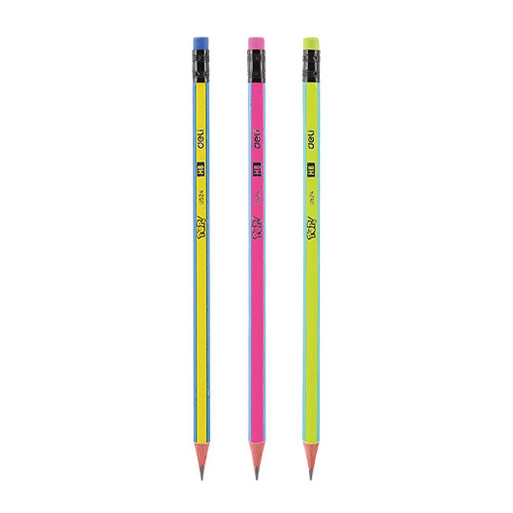 Μολύβι Deli ριγέ με γόμα HB