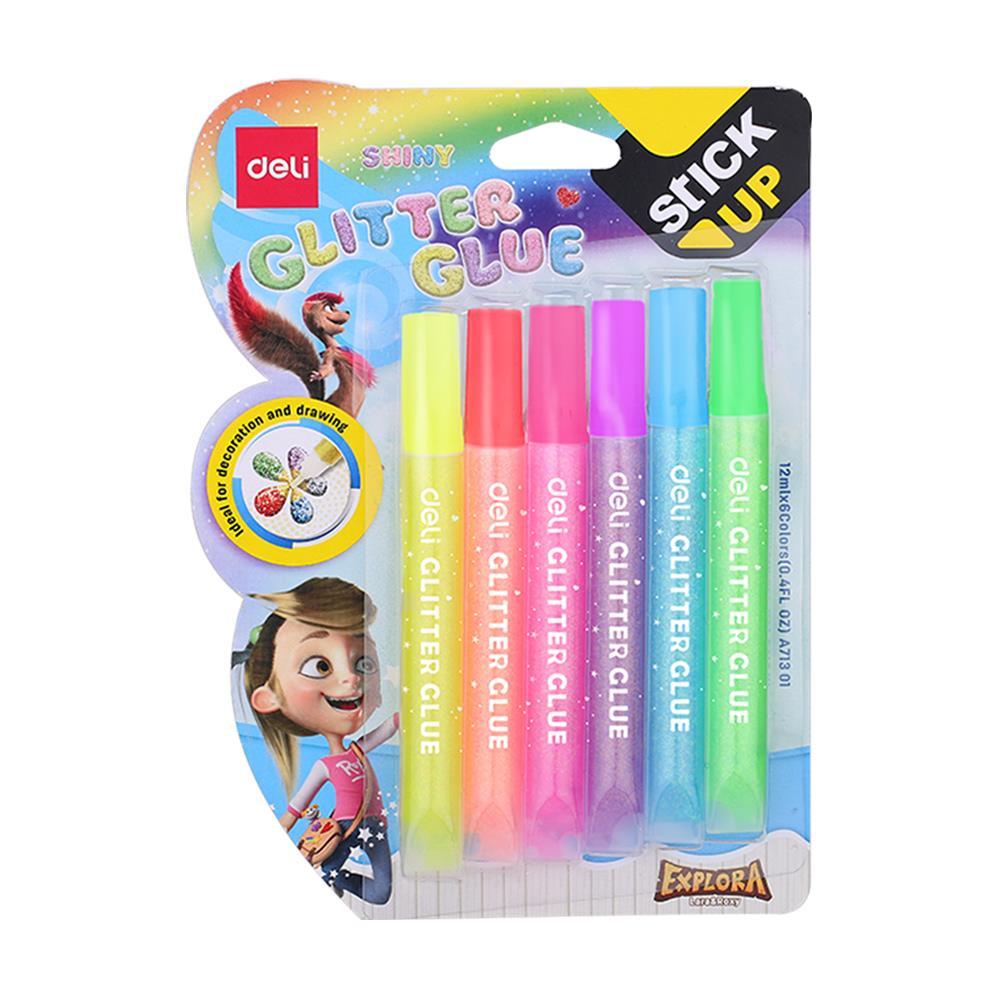 Glitter glue Deli neon 12 ml σετ 6 χρωμάτων