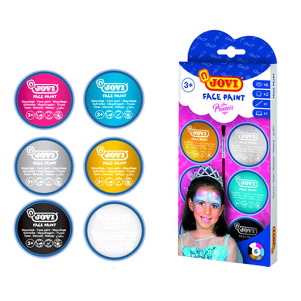 Χρώματα Face Painting Jovi 6 x8ml Princess με πινέλο & σφουγγάρια