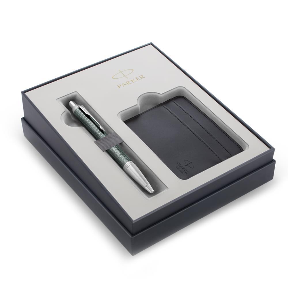 Σετ Parker IM Premium Pale Green CT στυλό με θήκη για κάρτες δώρο