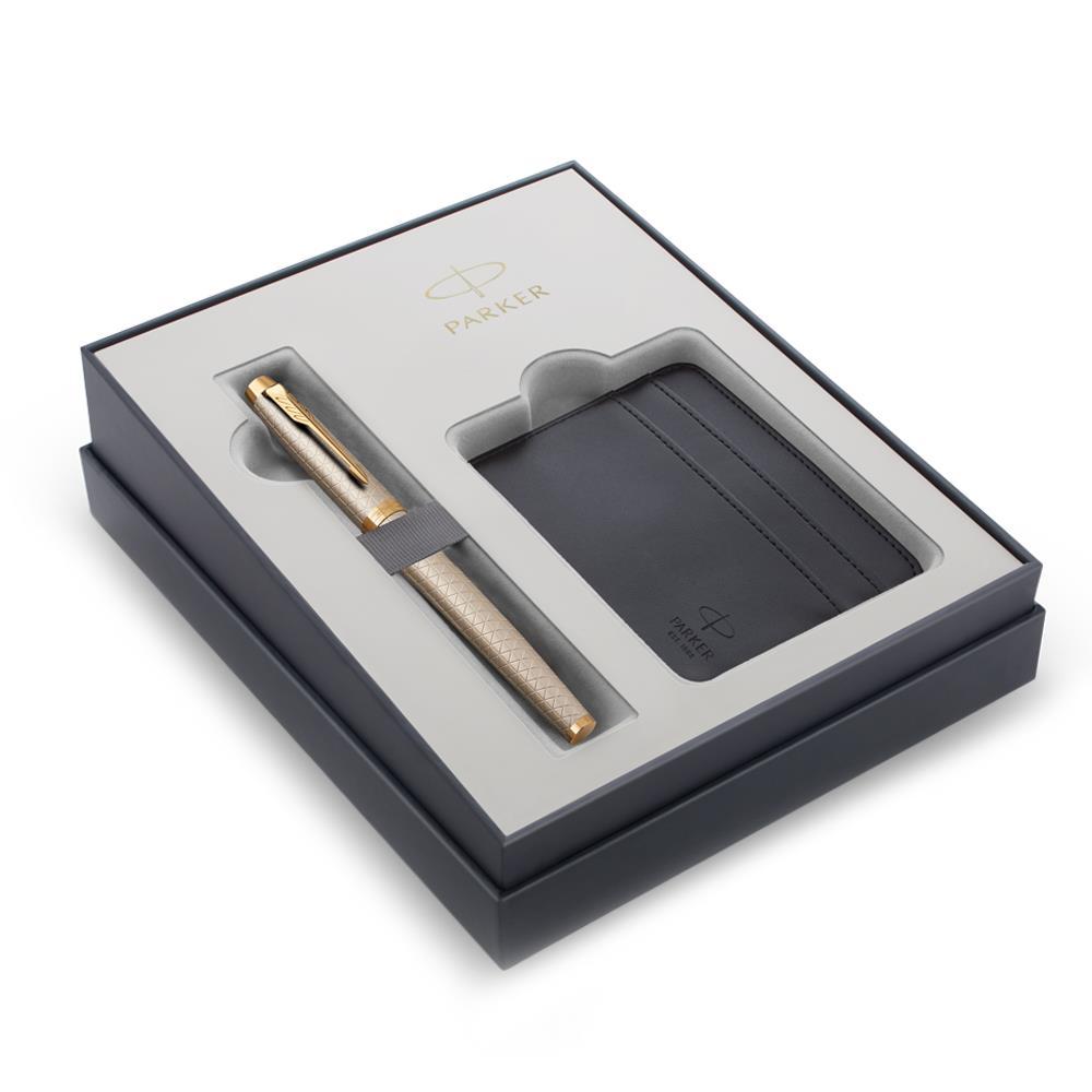 Σετ Parker IM Premium Warm Grey GT πένα με θήκη για κάρτες δώρο
