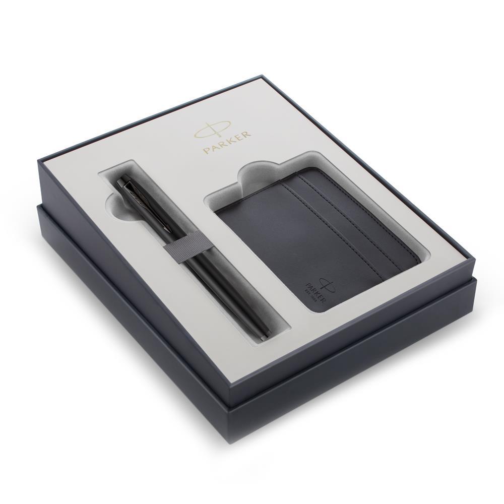 Σετ Parker IM Special Edition Achromatic Black CT πένα με θήκη για κάρτες δώρο