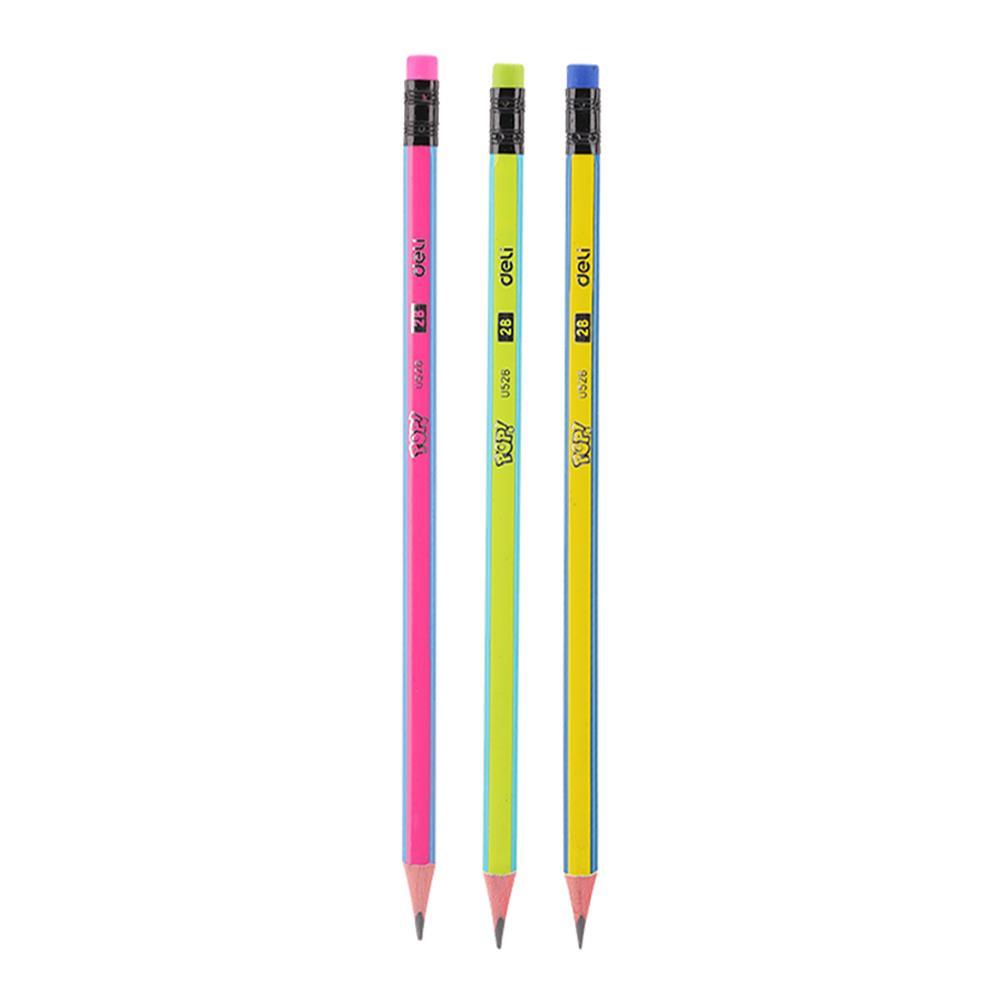 Μολύβι Deli ριγέ με γόμα 2B