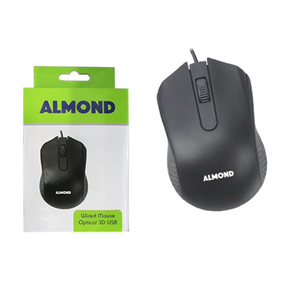 Ποντίκι ενσύρματο Almond usb μαύρο