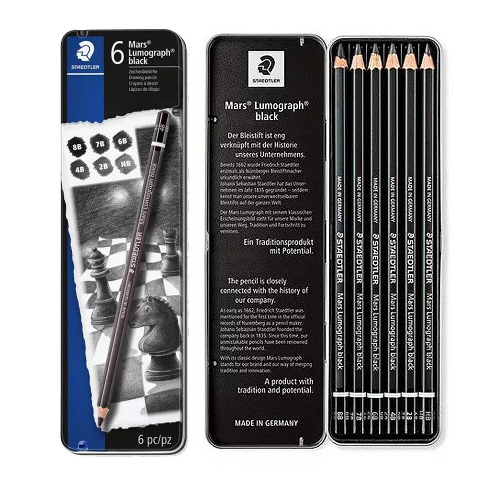 Σετ Staedtler Black 100 Β G6 μολύβια σχεδίου 6 τεμ. μεταλλική κασετίνα