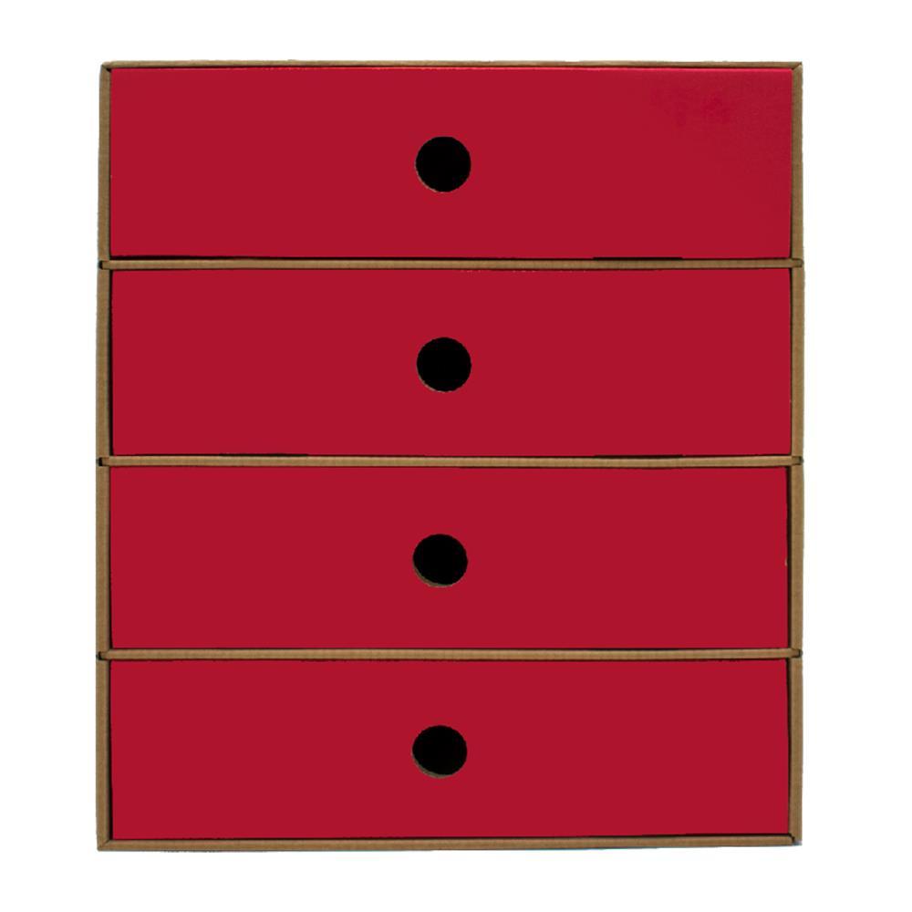 Συρταριέρα χάρτινη 4 θέσεων Metron κόκκινη