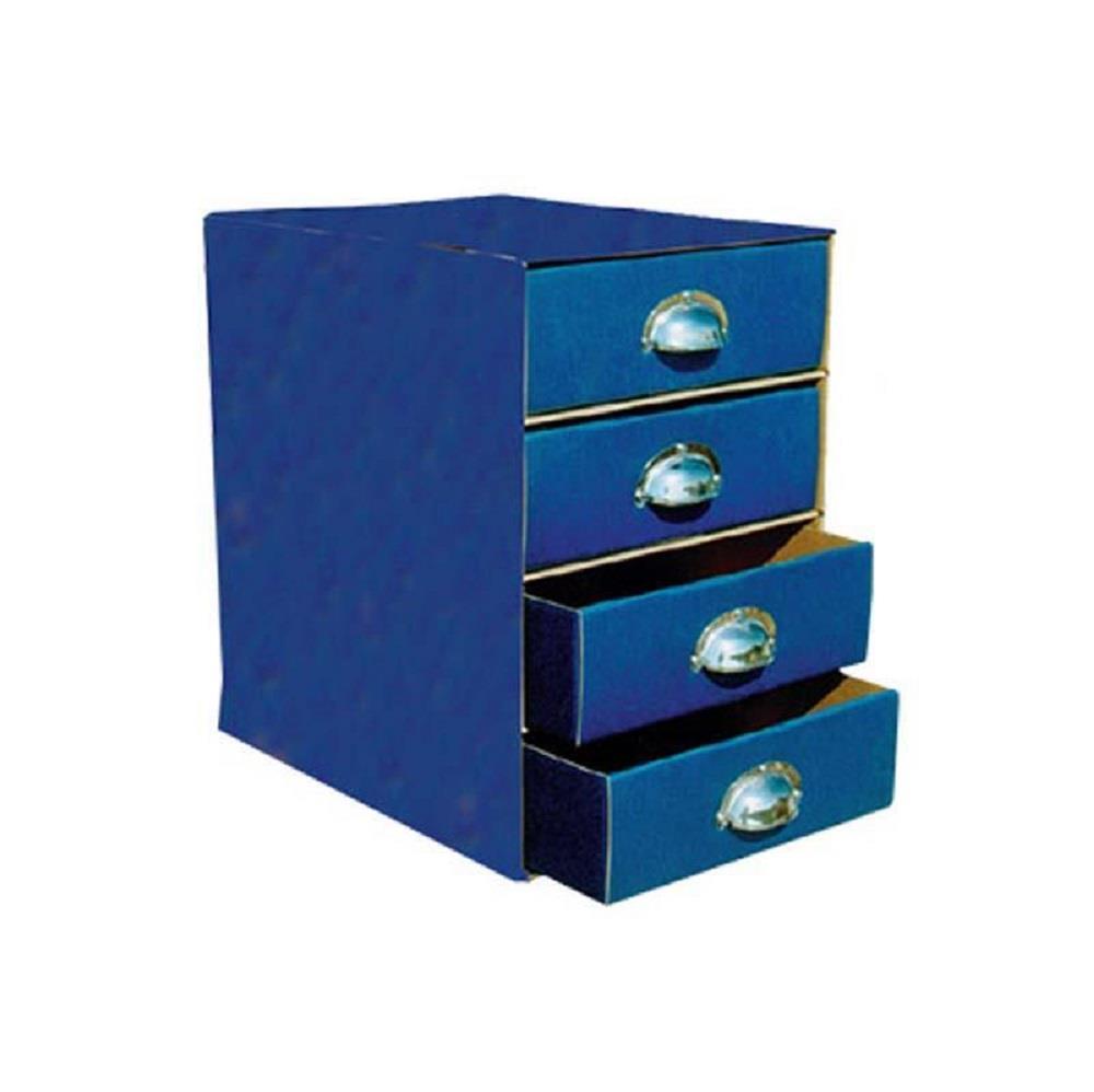 Συρταριέρα χάρτινη 4 θέσεων με λαβές μπλε
