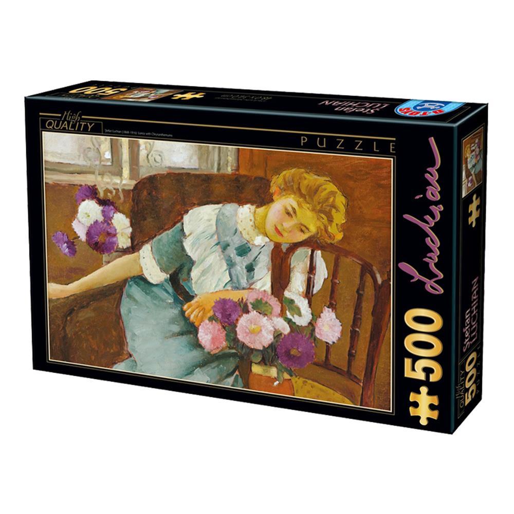 Παζλ D-Toys Luchian Lorica With Chrysanthem 48x34cm 500 κομ.