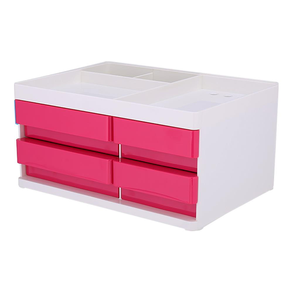 Συρταριέρα πλαστική 4 θέσεων Deli μικρή με θήκες κόκκινη