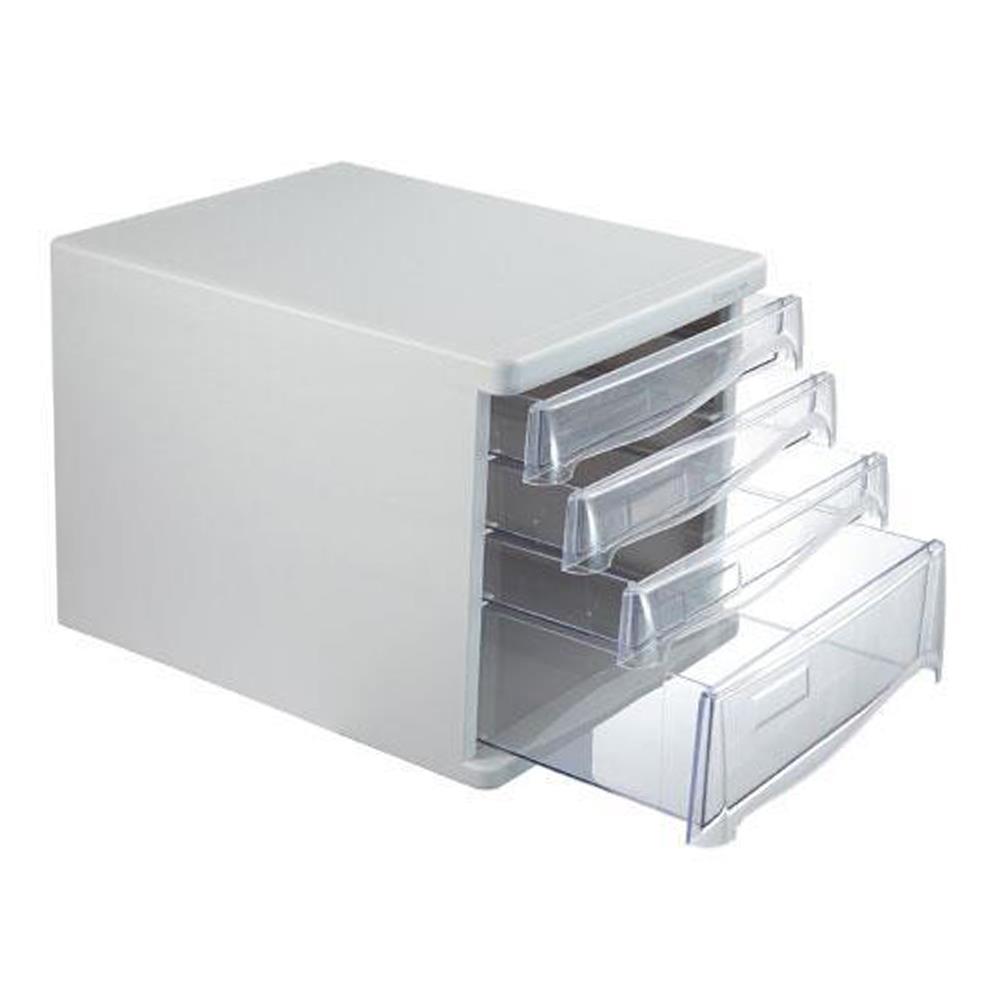 Συρταριέρα πλαστική 4 θέσεων Comix ανοιχτό γκρι