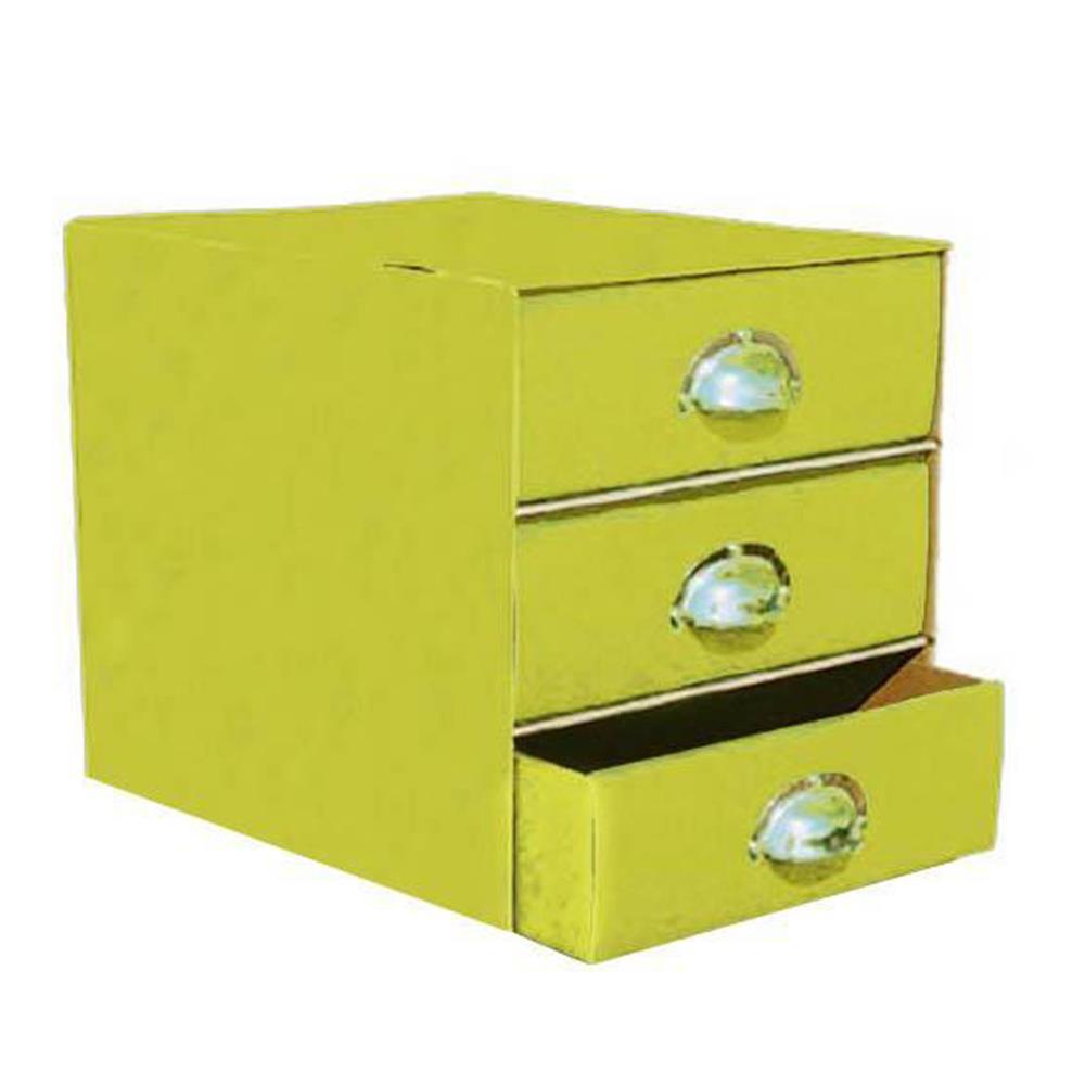 Συρταριέρα χάρτινη 3 θέσεων με λαβές κίτρινη