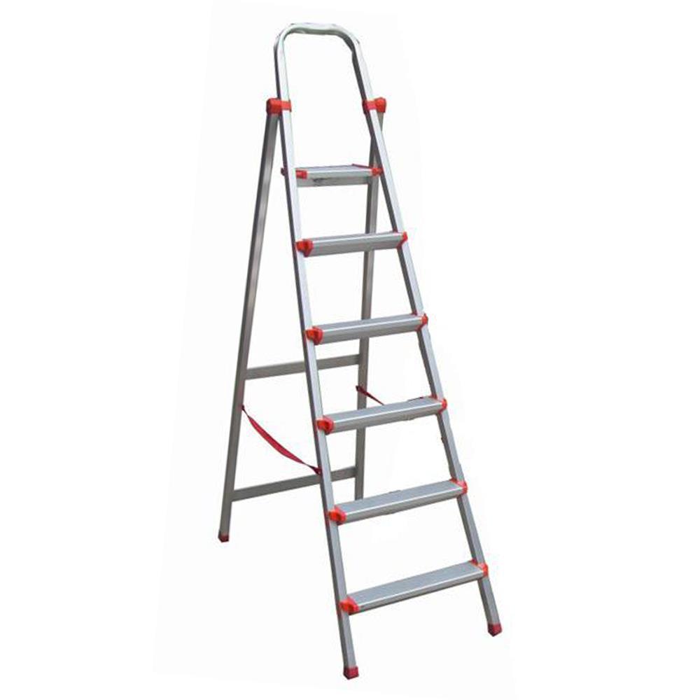Σκάλα αλουμινίου με 6 σκαλοπάτια 200 cm ασημί