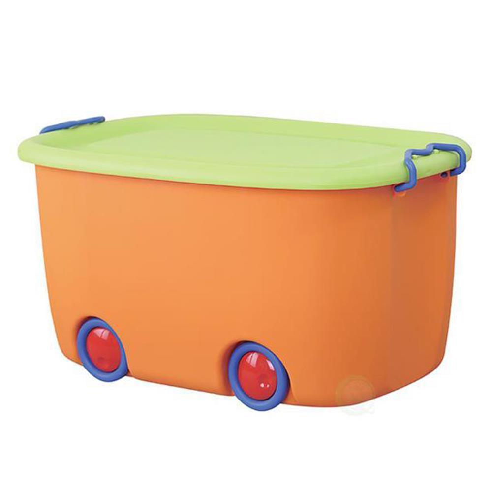 Κουτί με ρόδες πλαστικό 24x47x30 cm πορτοκαλί