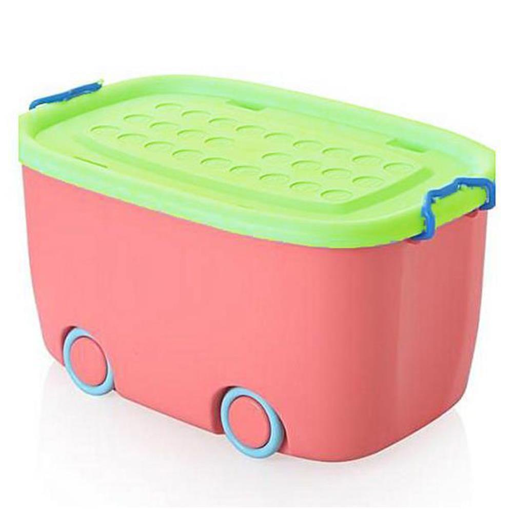 Κουτί με ρόδες πλαστικό 24x47x30 cm ροζ